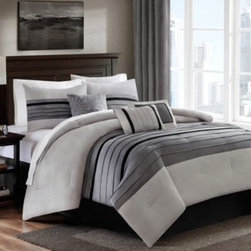 E & E Co., Ltd. - Dylan 6-7 Piece Comforter Set in Grey - The Dylan comforter set outfits your bedroom in modern luxury with a super-soft microsuede fabric pieced in a soothing earth-tone palette. This beautiful set includes everything you need to update your bedding ensemble in this casual, contemporary style.