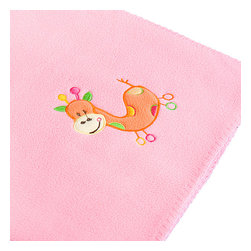 """Blancho Bedding - Orange Giraffe - Pink Applique Coral Fleece Baby Throw Blanket  29.5""""-39.4"""" - The Embroidered Applique Coral Fleece Baby Kids Throw Blanket measures 29.5 by 39.4 inches. Whether you are adding the final touch to your bedroom or rec-room, these patterns will add a little whimsy to your decor. Machine wash and tumble dry for easy care. Will look and feel as good as new after multiple washings! This blanket adds a decorative touch to your decor at an exceptional value. Comfort, warmth and stylish designs. This throw blanket will make a fun additional to any room and are beautiful draped over a sofa, chair, bottom of your bed and handy to grab and snuggle up in when there is a chill in the air. They are the perfect gift for any occasion! Available in a choice of whimsical kid-friendly prints to spark the imagination, the blanket is durable enough to look great on the go."""