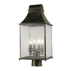 World Imports - Revere 4-Light Outdoor Post Lantern, Flemish - Weather resistant construction with decorative flemish finish