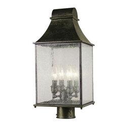 World Imports - Revere 4-Light Outdoor Post Lantern, Flemish - Weather resistant construction with decorative flemish finish