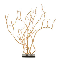 Kathy Kuo Home - Dunston Modern Beige Iron Tree Branch Sculpture - The stark beauty of bare branches is captured in cast iron, creating a piece of decorative sculpture that creates a bold, organic statement.