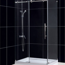 "BathAuthority LLC dba Dreamline - Enigma-X Fully Frameless Sliding Shower Enclosure, 34 1/2"" D x 48 3/8"" W x 76"" H - The Enigma-X shower enclosure stuns with an elegant frameless design that rivals custom glass for an amazing value. The sophisticated stainless steel hardware is a perfect mix of exceptional quality and cool urban style. Premium 3/8 in. thick tempered glass is treated with DreamLine exclusive Clear Glass™ protective coating for superior protection and easy maintenance. The Enigma-X commands attention with extreme style and ultimate quality."
