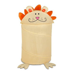 Honey Can Do - Honey-Can-Do Lion Print Kid's Pop-Up Hamper - Go ahead, feed the animals! Make laundry day a roaring good time for the whole family with this adorable, pop-up animal hamper. This friendly feline loves to snack on socks, clothes, and pajamas and hides them away neatly at the end of the day. The easy open and close lid keeps dirty laundry out of sight. Great for teaching kids cleaning and organization skills without any fuss. The dual purpose hamper works equally as nice for storing your child's prized (and often overflowing) stuffed animal collection.