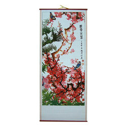 Oriental-Decor - Chinese Cherry Blossom Chinese Scroll - A beautiful and vibrant cherry blossom tree is captured in full bloom in this magnificent Chinese scroll. Cherry blossoms are prevalent in many places in China and often associated with Asian culture. Hang this attractive Chinese scroll in your home to bring any decorative setting to life.