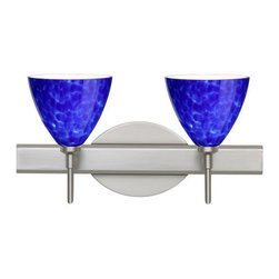 Besa Lighting - Besa Lighting 2SW-177986 Mia 2 Light Reversible Halogen Bathroom Vanity Light - Mia has a classical bell shape that complements aesthetic, while also built for optimal illumination. Our Blue Cloud glass is full of floating, splashes of blue tones over white that almost feels like a watercolor painting. This combination of color is crisp and timeless. This decor is created by rolling molten glass in small bits of blue hues called frit. The result is a multi-layered blown glass, where frit color is nestled between an opal inner layer and a clear glossy outer layer. The handcrafted touch of a skilled artisan, utilizing century-old techniques passed down from generation to generation, creates variations in color and design that are to be appreciated. The vanity fixture is equipped with decorative lamp holders, removable finials, linear rectangular housing, and a removable low profile oval canopy cover.Features:
