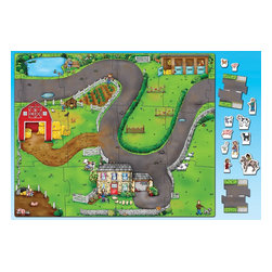 The Original Toy Company - The Original Toy Company Kids Children Play On the Farm Giant Jigsaw - A large farmyard playmat floor puzzle designed to work as a stand alone product or to connect with our Giant Road Jigsaw No.286.