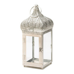 "Classic Lightiing - Silver Moroccan Dome Lantern - The captivating design of Moroccan will add some international flair to your candle with this exotic dome lantern.  Clear glass panels let the light shine through, topped with an ornate dome roof and oversize hanging loop.  2.25"" round loop for hanging.  Candle not included."