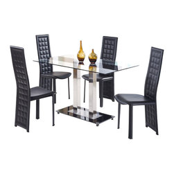 Global Furniture USA - D2108DT + D027DC-BL Black Accent Glass & Black Leatherette Five Piece Dining Set - This contemporary dining room set is a great addition to any modern home decor. A set by Global furniture that is sure to catch your eye. This set features an interesting charm with unique styled chairs and a contrasting glass table. The elegant look of this set can go with just about any decor or setting. The table in this set features a black center strip that makes it different from most glass tables. A matching frosted glass base sits at the bottom of this piece. The chairs are upholstered in a beautiful black leatherette and feature a grid pattern on the back. The dining set includes the dining table and four chairs only.