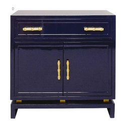 Worlds away - World Away Marcus Lacquer Cabinet Navy With Gold Handles - Sleek and polished, this compact navy-lacquered cabinet is the perfect modern piece for your decor. The gold bamboo handles provide a bit of bling to this Asian-inspired cabinet, which would look amazing either in the bedroom or as a credenza in the dining room.