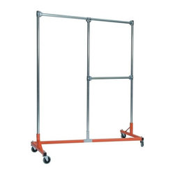 Z Racks - Heavy Duty Split Rail Garment Rack w Half Mid - Base Color: Orange. 500 lb Capacity. 5 in. heavy duty non-marring casters with revolving bumpers. Steering Handles. 5 ft. base - 14 gauge steel environmentally safe powder coated finish. Top Shelf (15.5 in. D x 56.5 in. L) 24 gauge steel wire. Bottom Shelf (19.25 in. D x 60 in. L) 24 gauge steel wire. Made in USA. 63 in. L x 23 in. W x 79 in. HThis new Split Rail Z-Rack is designed to maximize every inch, stay sturdy, and offer two hanging options. Both sides are 30 in. wide and have 6 ft. of hang space! The 30 in. hang rail is fully adjustable!