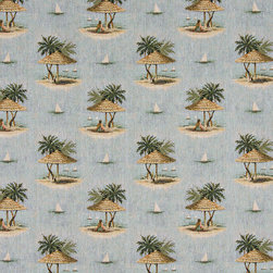 Sailboats Palm Trees Shade Umbrella Theme Tapestry Upholstery Fabric By The Yard - P0010 is an upholstery grade tapestry novelty fabric. This fabric is excellent for cabins, lodges, homes and commercial uses.