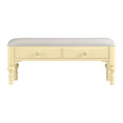 Stanley Furniture - Coastal Living Cottage Bed End Bench - Lemon Twist Finish - When a settee is too much and a stool is too little, this cheery double-drawer bench fits the bill. Heavily padded upper seat makes soft work of lacing sneakers. Made to order in America.