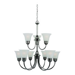 Sea Gull Lighting Products LLC - Sea Gull Lighting Gladstone 31852BLE-965 9-Light Chandelier - 30.25 diam. in. - - Shop for Chandeliers from Hayneedle.com! A striking accent to your contemporary or traditional home the Sea Gull Lighting Gladstone 31852BLE-965 9-Light Chandelier - 30.25 diam. in. - Antique Brushed Nickel is elegantly crafted of solid steel finished in antique brushed nickel. With smooth curves and clean lines this nine-piece chandelier is topped by satin-etched glass shades. Make the eco-friendly choice with this energy-efficient fixture. What is an ENERGY STAR product?This product has earned the ENERGY STAR rating from the U.S. Environmental Protection Agency and the U.S. Department of Energy. ENERGY STAR is a voluntary labeling program designed to identify and promote energy-efficient products. These products meet strict guidelines and can help you save up to a third on energy bills compared to like products without an ENERGY STAR rating. ENERGY STAR products saved about $14 billion in 2006 alone and their numbers are growing exponentially in product categories. This ENERGY STAR product has met criteria that will save energy money and reduce greenhouse gas emissions. An excellent choice. About Sea Gull LightingSea Gull Lighting prides itself on being experts in outdoor lighting. They specialize in the latest technology lighting techniques available new products and professional design aspects of creating a well-designed lighting plan. As an example of their industry leadership they are at the forefront of lighting legislation and changing electrical codes leading the industry in ENERGY STAR Lighting Dark Sky Lights California's Title 24 and outdoor lighting technology. In fact Seagull Lighting was named ENERGY STAR's Partner of the Year in 2007. Look for continued innovation and the highest quality lighting from Seagull always.