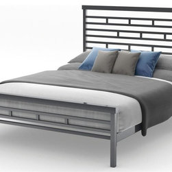 Amisco - Highway Bed in Glossy Gray Finish (Queen) - Choose Size: QueenMagnetite metal frame. Full: 80.38 in. L x 54.5 in. W x 47.25 in. H (110.5 lbs.). Queen: 85.75 in. L x 62 in. W x 47.25 in. H (114.5 lbs.)