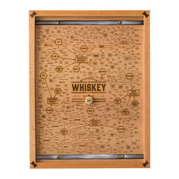 Limited Edition Whiskey Wood Engraving - Proudly display your love for what you may have hiding in the bottom drawer of your mid-century modern desk. Inspired by the look of distillery whiskey barrels, with cork at its center, each chart is laser-engraved into responsibly harvested cherry ply and 100% unique. Each is assembled by hand with a delicious custom red oak frame with walnut butterfly-key joints at the corners and finished with distressed steel strapping and brass accents.