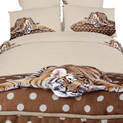 Dolce Mela - Sleepy Tiger, 100% Cotton 6 Piece Animal Print Bedding Duvet Cover Sheets Set, T - Decorate with this adorable animal print of a sleepy tiger on earth tone background to create a charming mood in your bedroom.