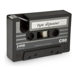 j-me - Cassette Tape Dispenser, Black - It's official... cassette tapes are back! This easy to use tape dispenser is in the shape of a cassette tape. We'd like to see them try to pull this off with a CD! Mix things up at your desk and pay homage to the beloved cassette tape of the 70s and 80s with this heavy duty, lighthearted rubber desk accessory.