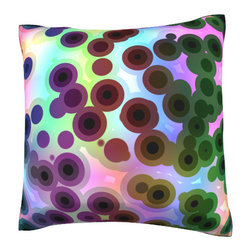 Custom Photo Factory - Retro Circles Pattern Pillow.  Polyester Velour Throw Pillow - Retro Circles Pattern Pillow. 18 Inches x 18  Inches.  Made in Los Angeles, CA, Set includes: One (1) pillow. Pattern: Full color dye sublimation art print. Cover closure: Concealed zipper. Cover materials: 100-percent polyester velour. Fill materials: Non-allergenic 100-percent polyester. Pillow shape: Square. Dimensions: 18.45 inches wide x 18.45 inches long. Care instructions: Machine washable
