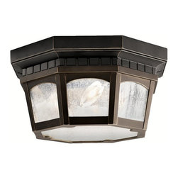 KICHLER - KICHLER 9538RZ Courtyard Traditional Outdoor Flush Mount Ceiling Light - Uncluttered and traditional, this attractive flush mount fixture from the Courtyard™ collection adds the warmth of a secluded terrace to any patio or porch. What a welcoming beacon for your home's exterior. Done in a Rubbed Bronze finish with Clear-seedy glass. It is U.L. listed for damp location and 75° C Wire Rated.