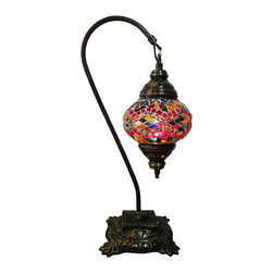 Jay Bazaar - Multicolor Mosaic Lamp - Colorful Swan - Authentic Desk Lamp , Moroccan Style Lamp , Night Lamp, Exotic Lamp