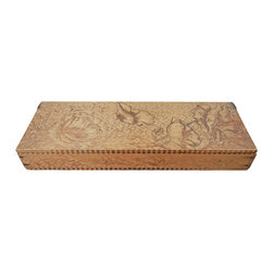 Trinket Box - The floral design has been carved into the wood using a fine-tipped veining chisel. Some of the design appears to have been created by hammering a dye into the wood.