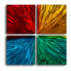 """Four square colored ripples"" 4 Piece Contemporary Handmade Metal Wall Art Set - Size: Size: 32"" x 32"" (16"" x 16"" x 4pc) Materials: Aluminum, Paints, Wood Made of high quality aluminum over a 0.5-inch thick wood frame covered with velvet on the back 100% Handmade wall decor Hand sanded design that creates unique holographic effect  Clear coated gloss finish Ready to hang out of the box Hand crafted by a single talented artist Due to the handcrafted nature, each piece may have subtle differences"