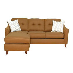 Royola Pacific - Stoked Rust Sectional Left/Right Lounge Chaise Sofa w/ Reversible Ottoman - Stoked rust upholstery