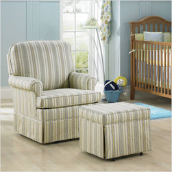 Juvenile Glider - This classic rocker and glider combo was a best-seller at the LA boutique I ran. Amazing lumbar and foot support meets with a simple and pleasant design. Don't you love the simple stripes?