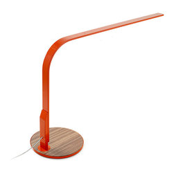 Pablo Design - Pablo Designs Lim 360 Lamp, Naranjo/Walnut - LIM360 is a personalized, high-performance task lamp whose slim, compact frame allows light to assert its presence. The second iteration of the Lim lamp concept, its efficient form shapes a plane of illumination powered by an equally efficient power source - a continuous array of high-output, energy-saving LEDs. Furthering its suitability for workspaces, it combines seamless, 360 degree arm rotation with an integrated USB port for charging mobile devices. The base offers a soft, textured refuge for such devices and personal items. LIM360 is available in a range of neutrals and expressive colors.