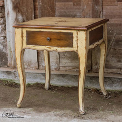 Uttermost - Uttermost Ruggerio Wooden End Table - Plantation Grown Mango Wood In Rustic  Butter Pecan Paint Finish With Dark Mahogany Stained Accents And Dovetail Drawers With Solid Brass Hardware.