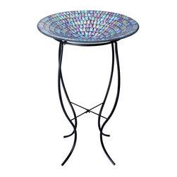 Alpine - Mosaic 18 inch Glass Birdbath with Metal Stand - Purple - Features: