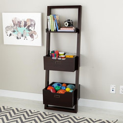 Little Sloane Leaning Bookcase with Bins, Java - With sleek lines, this leaning bookcase looks modern and also has a cool factor. It includes two large bins and a flat shelf.