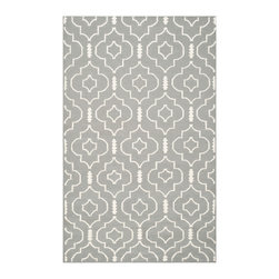 """Safavieh - Leyla Dhurries, Grey / Ivory 2'6"""" X 10' - The classic geometric motifs of Safavieh's flat weave Dhurrie Collection are equally at home in casual, contemporary, and traditional settings. We use pure wool to best recreate the original texture and soft colorations of antique dhurries prized bycollectors. The Dhurrie weave is native to India, and every step in our production process faithfully follows the traditions of local artisans. The results are natural, organic and with wonderful nuances in pattern and tone."""