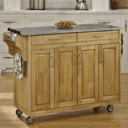 """Home Styles - Create-a-Cart Kitchen Cart with Granite Top - Features: -Convenient spice rack on one side.-Stainless steel towel bar on the other side.-Three spacious storage cabinets.-Adjustable shelves behind four wood framed doors.-Two spacious easy open drawers on metal drawer glides.-Four heavy duty industrial grade rubber casters (two locking).-Cart constructed of solid wood.-Create-a-Cart Collection.-Product Type: Kitchen Cart.-Collection: Create-a-Cart.-Counter Finish: Natural.-Hardware Finish: Brushed Steel.-Distressed: No.-Powder Coated Finish: No.-Gloss Finish: No.-Base Material: Wood.-Counter Material: Salt and Pepper Granite.-Hardware Material: Brushed Steel.-Solid Wood Construction: Yes.-Number of Items Included: 1.-Water Resistant or Waterproof Cushions: No.-Stain Resistant: No.-Warp Resistant: No.-Exterior Shelves: No.-Drawers Included: Yes -Number of Drawers: 2.-Push Through Drawer: No..-Cabinets Included: Yes -Number of Cabinets : 3.-Double Sided Cabinet: No.-Adjustable Interior Shelves: Yes.-Number of Doors: 4.-Locking Doors: No.-Door Handle Design: Linear pulls..-Towel Rack: Yes -Removable Towel Rack: No..-Pot Rack: No.-Spice Rack: Yes .-Cutting Board: No.-Drop Leaf: No.-Drain Groove: No.-Trash Bin Compartment: No.-Stools Included: No.-Casters: Yes -Locking Casters: Yes.-Removable Casters: No..-Wine Rack: No.-Stemware Rack: No.-Cart Handles: No.-Finished Back: Yes.-Commercial Use: No.-Recycled Content: No.-Eco-Friendly: No.-Product Care: Clean with a damp cloth.Specifications: -ISTA 3A Certified: Yes.Dimensions: -Overall Height - Top to Bottom: 34.75"""".-Overall Width - Side to Side: 48.75"""".-Overall Depth - Front to Back: 17.75"""".-Width Without Side Attachments: 44.5"""".-Countertop Thickness: 0.75"""".-Countertop Width - Side to Side: 44.5"""".-Countertop Depth - Front to Back: 17.5"""".-Shelving: -Shelf Width - Side to Side (End Cabinet Shelves) : 8.5"""".-Shelf Width - Side to Side (Center Cabinet Shelves) : 18"""".-Shelf Depth - Front to Back: 14.5""""..-Leaf: No.-Dr"""