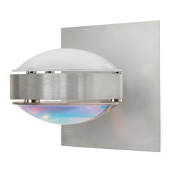 Besa Lighting - Besa Lighting OPTOS1W-FRCD Optos 1 Light Halogen Wall Sconce - The Optos wall sconce uses two separate optical-effect lenses to produce interesting displays of up/down light. The aluminum body allows for 359 degree rotation and holds the lenses with clips. Our Frost Lens is a clear molded borosilicate glass with frosted finish, with a parabolic shape designed to carefully diffuse light from the light source. The result is an edgy display that exudes an energetic mood. When lit this gives off a light that is functional and vibrant. This handcrafted glass uses a process where every glass is consistently produced using a mold, keeping variations to a minimum.Our Cool Dicro Lens is a molded borosilicate glass, with a technologically advanced dichroic coating outer application, in a parabolic shape designed to carefully refract the light rays in the light source. The result is an edgy blueish-purple display of light that exudes an energetic mood. When lit this gives off a light that is edgy and vibrant. This handcrafted glass uses a process where every glass is consistently produced using a mold, keeping variations to a minimum.Features: