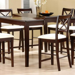 Coaster - Pryor Counter Height Dining Table - Stools sold separately. Contemporary style. Smooth table top with rounded edge. Center butterfly leaf. Sleek square tapered legs. Deep cappuccino finish. 54 in. L x 54 in. W x 36 in. H. WarrantyThis lovely contemporary counter height table will be a wonderful addition to your casual dining and entertainment space.