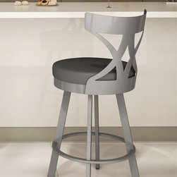 Amisco - Washington Swivel Bar Stool in Glossy Grey Fi - Ink colored fabric upholstery. 17.63 in. W x 20.5 in. D x 42 in. H (27 lbs.)