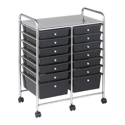 "ECR4Kids - 14 Drawer Mobile Organizer - This practical organizer can hold just about everything from art and crafts projects to office supplies or even hand tools! With its 14 drawers, its perfect for the home or office. Polypropylene drawers easily slide in and out on the chrome plated steel frame rails. This double-wide, multi-purpose organizer glides effortlessly under most tables or desks on 6-swivel casters (2-locking). -Tubular, chrome-plated steel frame and top shelf. -Round, chrome-plated knob drawer pulls. -Translucent Polypropylene drawers. -Cart capacity is 50 lb. (23 kg.). -Minimal Adult assembly required, tools & instructions included. Specifications: -Assembled Unit Dimensions: 24.75""W x 15.4""D x 25.75""H. -Drawer Dimensions: 11.25W x 15.25D x 2.75H."