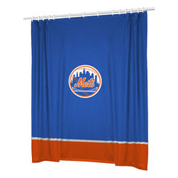 Sports Coverage - MLB New York Mets Baseball Bathroom Accent Shower Curtain - Features: