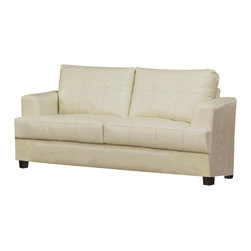 Adarn Inc - Samuel Tapered Arms Wood Block Feet Attached Cushions Loveseat, Cream - This contemporary bonded leather love seat will give your living room a fresh style. The simple piece has high plush tufted back cushions and deep t-cushions on the seat, making this a comfortable place to rest. Sleek track arms and square tapered wood feet complete the look. This love seat will blend easily with your home decor.