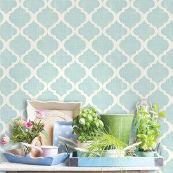 Meadowlark - The perfect trellis wallpaper. A Moroccan trellis print with a chic turquoise and white palette. A fresh and happy chic look with a potted herb garden arranged on a wooden tray.