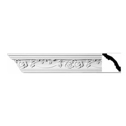 Renovators Supply - Cornice White Urethane Huntington - Cornice - Ornate | 11451 - Cornices: Made of virtually indestructible high-density urethane our cornice is cast from steel molds guaranteeing the highest quality on the market. High-precision steel molds provide a higher quality pattern consistency, design clarity and overall strength and durability. Lightweight they are easily installed with no special skills. Unlike plaster or wood urethane is resistant to cracking, warping or peeling.  Factory-primed our cornice is ready for finishing.  Measures 3 inch H x 94 inch L.