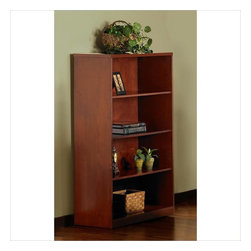Mayline - Mayline Stella 4-shelf bookcase in Toffee - Mayline - Bookcases - SKB4TOF - Add flair and class to your office, workspace, or living room with this beautiful Mayline Stella 4-shelf bookcase. This bookcase allows for extra storage with easy visibility and access. The simple and classic design of this functional bookcase is given an extra pop with the beautiful Toffee veneer. The Stella veneer desk and office system is a contemporary line of wood office furniture for executive offices, individual workspaces, conference rooms and reception areas. This line combines a contemporary look at an affordable price point. Sturdy craftsmanship is built to handle all of your office needs, while maintaining a beautiful and timeless look.