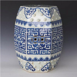 Blue And White Greek Key Garden Stool - This blue and white Greek key garden stool will add classic Chinoiserie style to any room of your home or even outdoors.