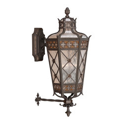 Fine Art Lamps - Chateau Outdoor Outdoor Wall Mount, 403681ST - Large top wall mount of solid brass featuring a variegated rich umber patina with gold accents and antiqued glass.