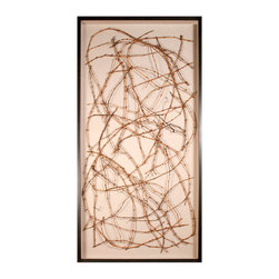 Biodynamic Heller Vines - Shadowbox Art - Freeform patterns in hand-harvested grapevine are thoughtfully entwined by artisans to form the one-of-a-kind organic look of each Biodynamic Heller Vines artwork. Couched in linen, the vines offer an authentic hint of nature which is carefully presented on your wall with subtle twists of wire to preserve the shape. A dark frame gives full impact to the emphasis on the outdoors.