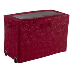Classic Accessories - Seasons Rolling Storage Bin - Seasons Collection by Classic Accessories - this big Big 36 by 18 by 24-inch high protectively padded rolling container stores an endless variety of holiday decorations including inflatable's. It features an easy-view window lid with dual zippers for easy access convenient rear wheels for effortless transport four interior stash pockets and one zippered pocket clear ID sleeve convenient handles on all four sides and a wire frame that collapses for easy packing and storage. Keeps your decorations and memories safe. Made of holiday patterned high-quality polyester in a rich Cranberry color.