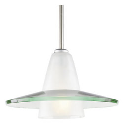 "Progress Lighting - Progress Lighting P5011-09 Glass Pendants Series 12"" Single-Light Stem-Hung - Contemporary stem-hung pendant with an etched glass cone supporting a heavy curved clear glass shade. Canopy adjusts to sloped ceilings up to 45°s w/ 358° rotation.For the same pendant but in a larger size, please check out the P5012.Features:"