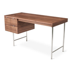 Gus Modern - Conrad Desk - The Conrad Desk by Gus Modern is a compact home office desk with a strong Mid-Century pedigree. All surfaces are finished in walnut, to contrast the slender, tubular stainless steel legs and brushed aluminum drawer pulls. The main drawer is designed to hold hanging file folders, and the two smaller drawers are perfect for organizing stationary and supplies. This desk evokes the style of 1950s Modernism, but with a scale and functionality suited perfectly for today.