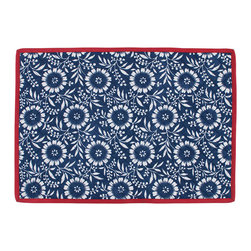 KAF Home - Colette Navy Quilted Placemat, Set of 4 - Our colette placemats feature a bold colored stripe bordering a soft floral design. Perfect for a more casual setting, this design will brighten up any dining table.
